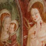 Santuario dell'Icona Passatora dettaglio affresco Madonna con bambino e San Sebastiano